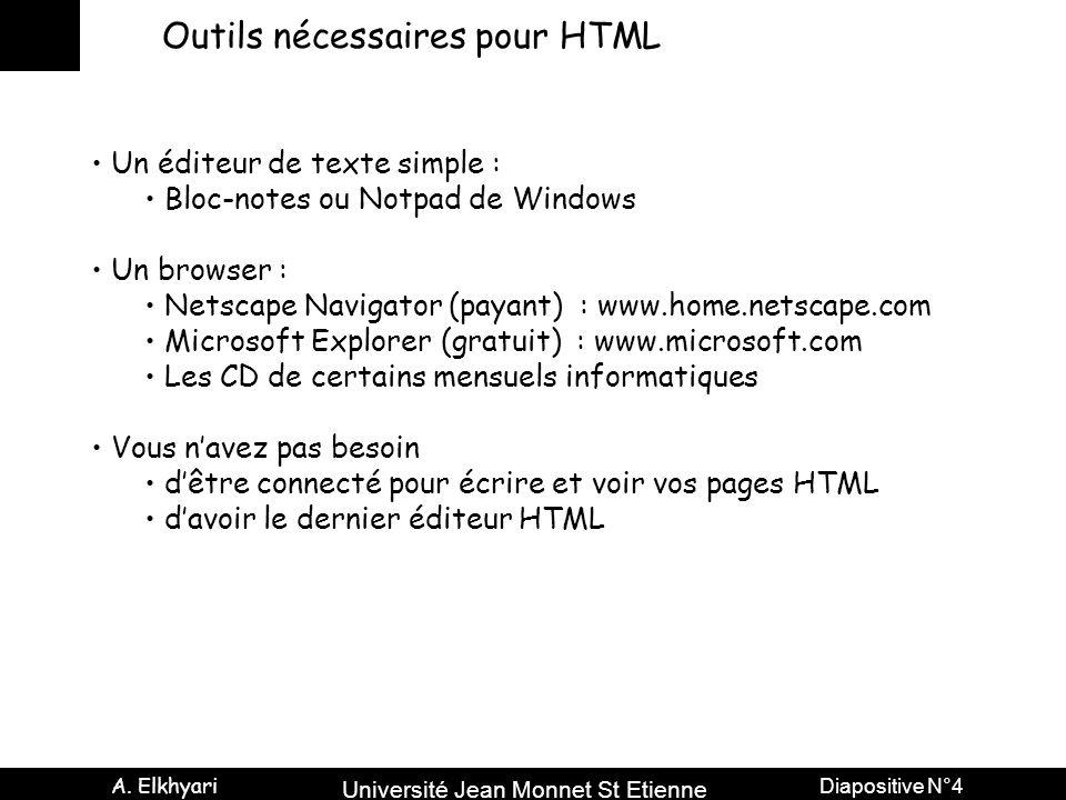 Université Jean Monnet St Etienne A. Elkhyari Diapositive N°4 Outils nécessaires pour HTML Un éditeur de texte simple : Bloc-notes ou Notpad de Window