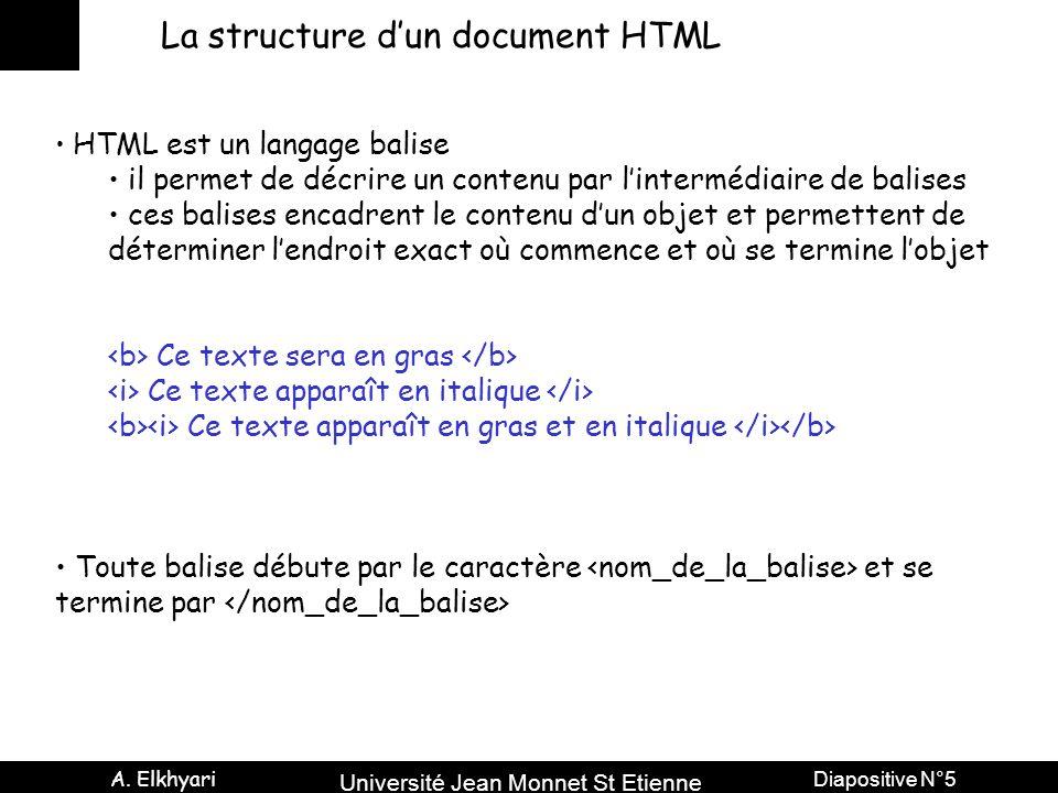 Université Jean Monnet St Etienne A. Elkhyari Diapositive N°5 La structure dun document HTML HTML est un langage balise il permet de décrire un conten