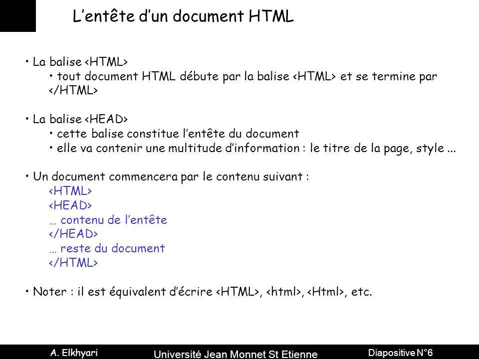 Université Jean Monnet St Etienne A. Elkhyari Diapositive N°6 Lentête dun document HTML La balise tout document HTML débute par la balise et se termin