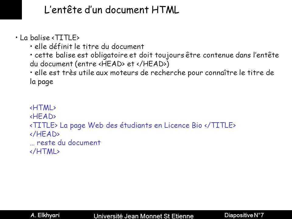 Université Jean Monnet St Etienne A. Elkhyari Diapositive N°7 Lentête dun document HTML La balise elle définit le titre du document cette balise est o