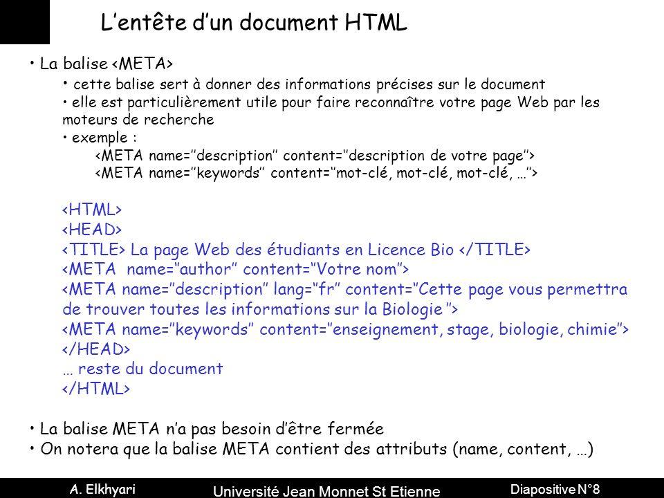 Université Jean Monnet St Etienne A. Elkhyari Diapositive N°8 Lentête dun document HTML La balise cette balise sert à donner des informations précises