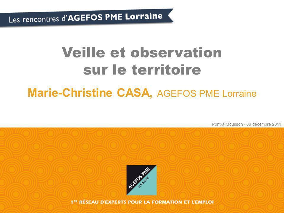 Veille et observation sur le territoire Marie-Christine CASA, AGEFOS PME Lorraine Pont-à-Mousson - 08 décembre 2011