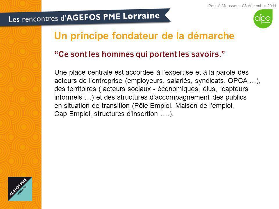 Un principe fondateur de la démarche Pont-à-Mousson - 08 décembre 2011 Ce sont les hommes qui portent les savoirs.