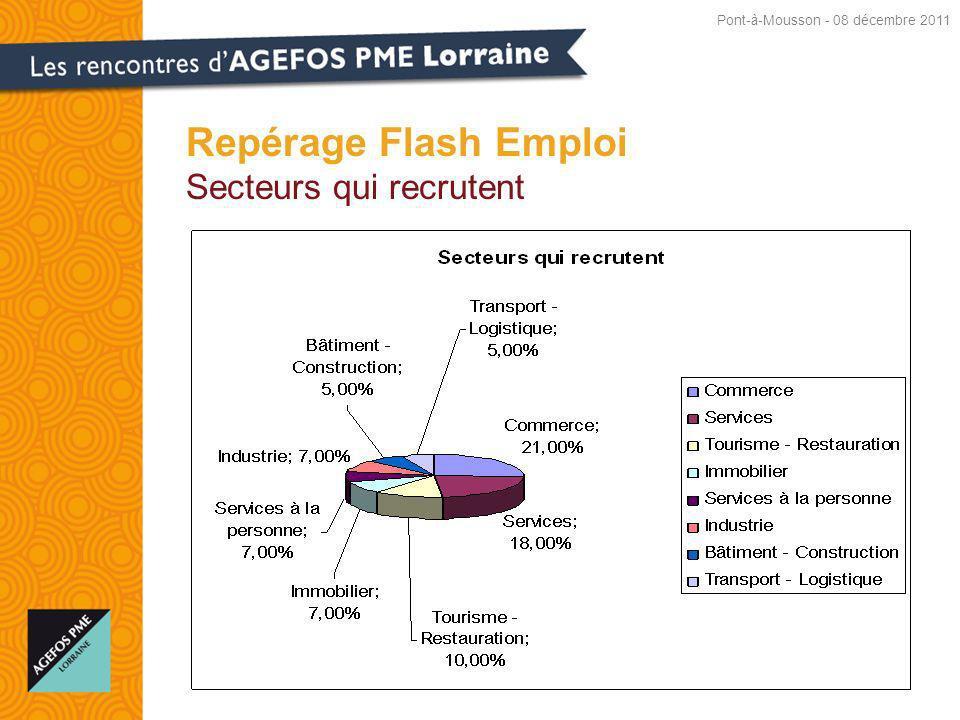Repérage Flash Emploi Secteurs qui recrutent Pont-à-Mousson - 08 décembre 2011