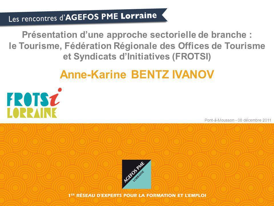 Présentation dune approche sectorielle de branche : le Tourisme, Fédération Régionale des Offices de Tourisme et Syndicats dInitiatives (FROTSI) Anne-Karine BENTZ IVANOV