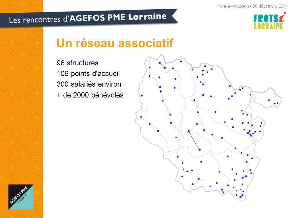 96 structures 106 points d accueil 300 salariés environ + de 2000 bénévoles Un réseau associatif Pont-à-Mousson - 08 décembre 2011