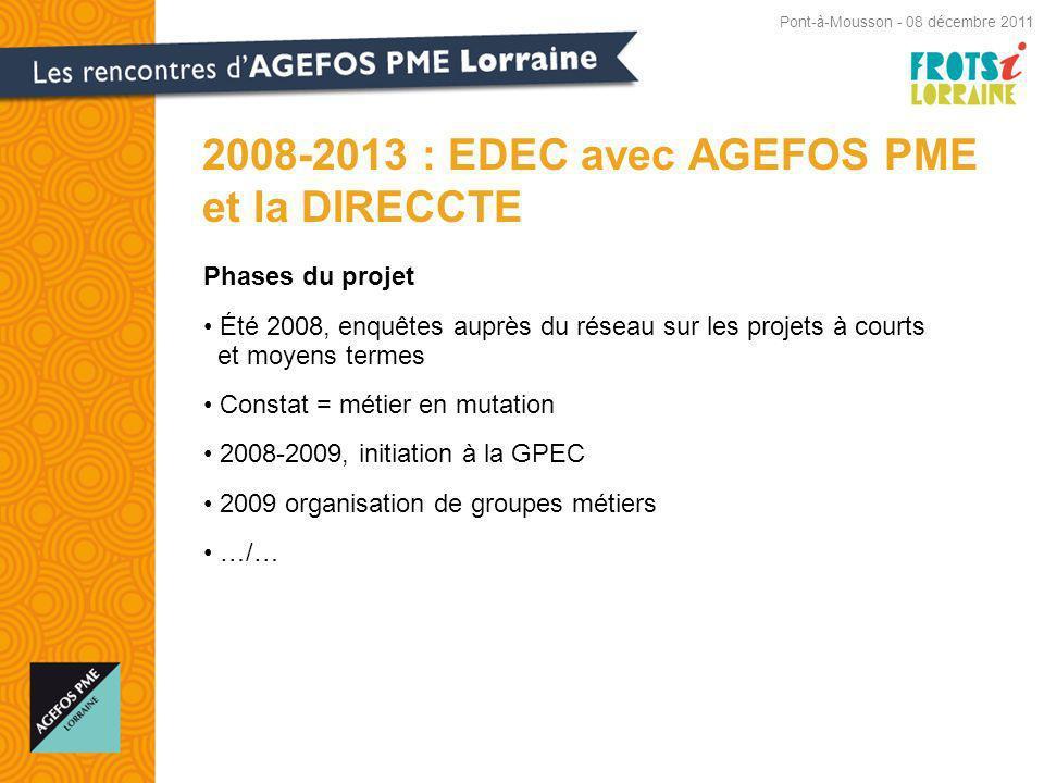 Phases du projet Été 2008, enquêtes auprès du réseau sur les projets à courts et moyens termes Constat = métier en mutation 2008-2009, initiation à la GPEC 2009 organisation de groupes métiers …/… 2008-2013 : EDEC avec AGEFOS PME et la DIRECCTE Pont-à-Mousson - 08 décembre 2011