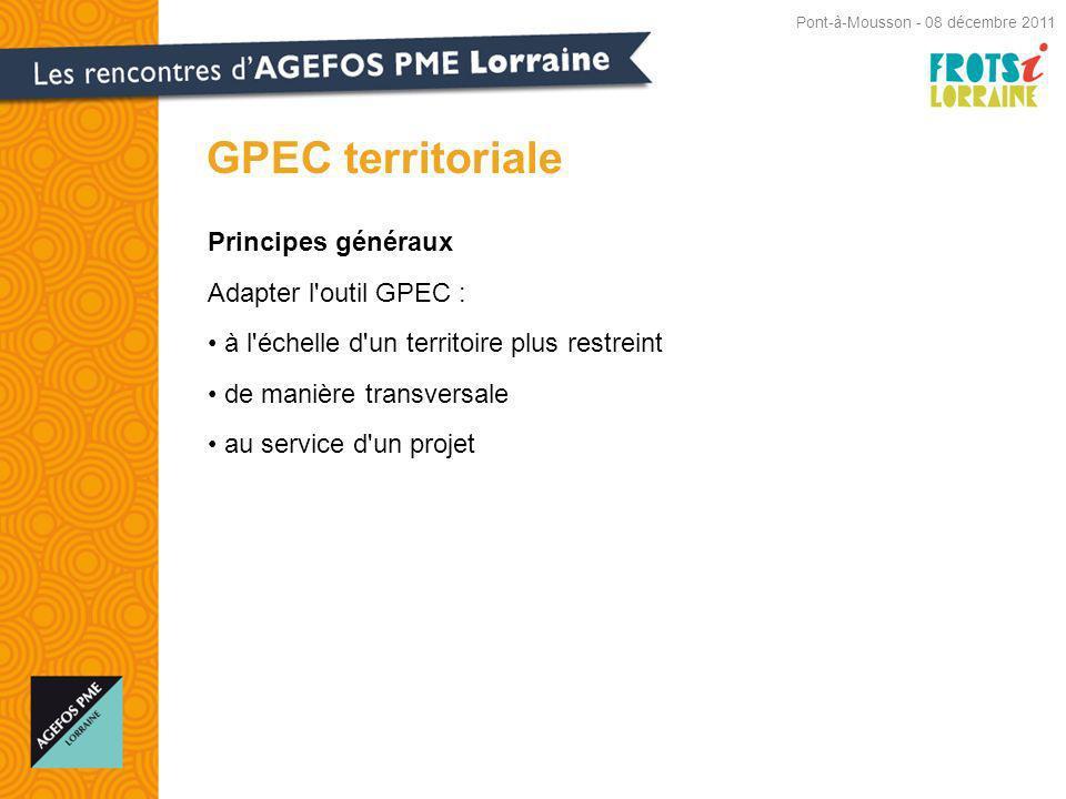 Principes généraux Adapter l outil GPEC : à l échelle d un territoire plus restreint de manière transversale au service d un projet GPEC territoriale Pont-à-Mousson - 08 décembre 2011