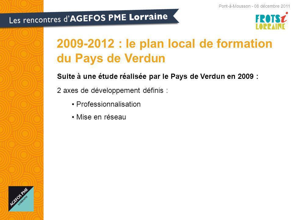 Suite à une étude réalisée par le Pays de Verdun en 2009 : 2 axes de développement définis : Professionnalisation Mise en réseau 2009-2012 : le plan local de formation du Pays de Verdun Pont-à-Mousson - 08 décembre 2011