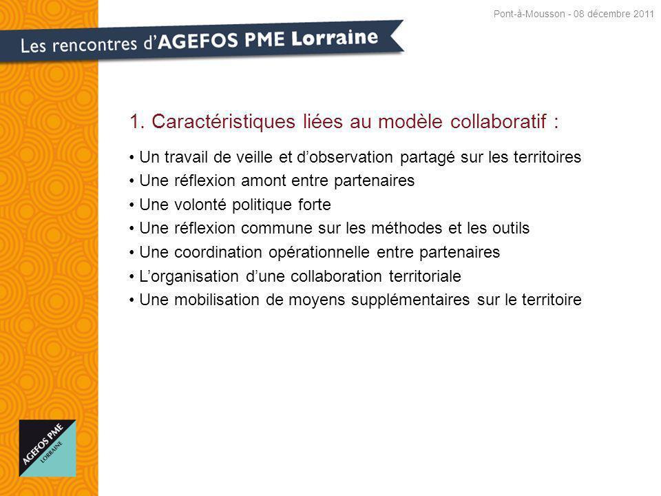 1. Caractéristiques liées au modèle collaboratif : Un travail de veille et dobservation partagé sur les territoires Une réflexion amont entre partenai