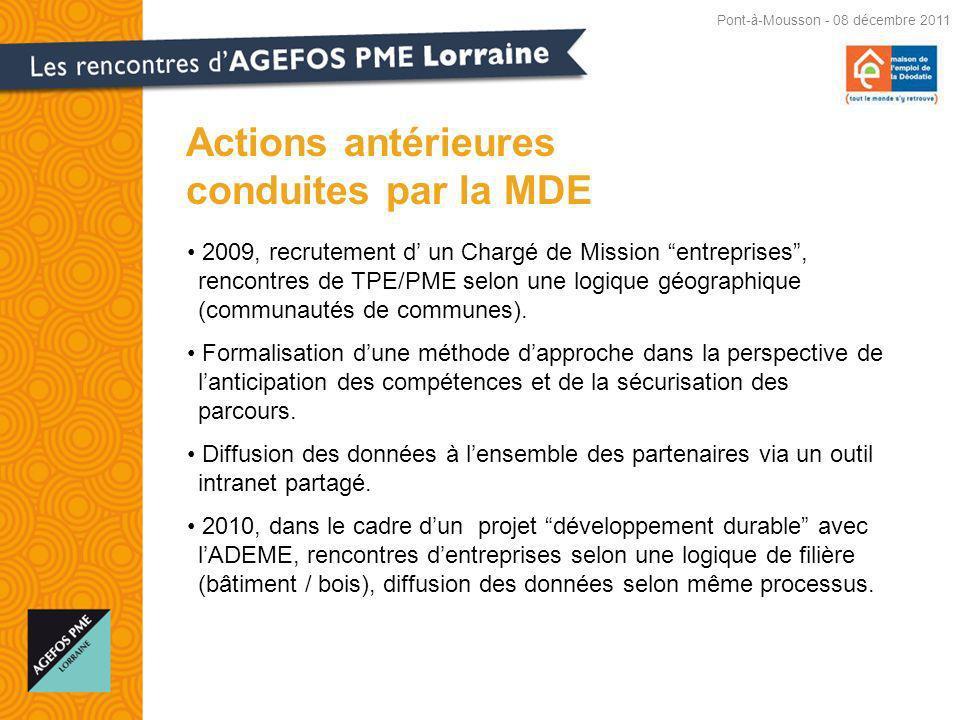 2009, recrutement d un Chargé de Mission entreprises, rencontres de TPE/PME selon une logique géographique (communautés de communes).