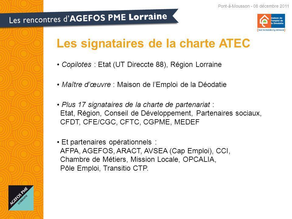 Copilotes : Etat (UT Direccte 88), Région Lorraine Maître dœuvre : Maison de lEmploi de la Déodatie Plus 17 signataires de la charte de partenariat : Etat, Région, Conseil de Développement, Partenaires sociaux, CFDT, CFE/CGC, CFTC, CGPME, MEDEF Et partenaires opérationnels : AFPA, AGEFOS, ARACT, AVSEA (Cap Emploi), CCI, Chambre de Métiers, Mission Locale, OPCALIA, Pôle Emploi, Transitio CTP.