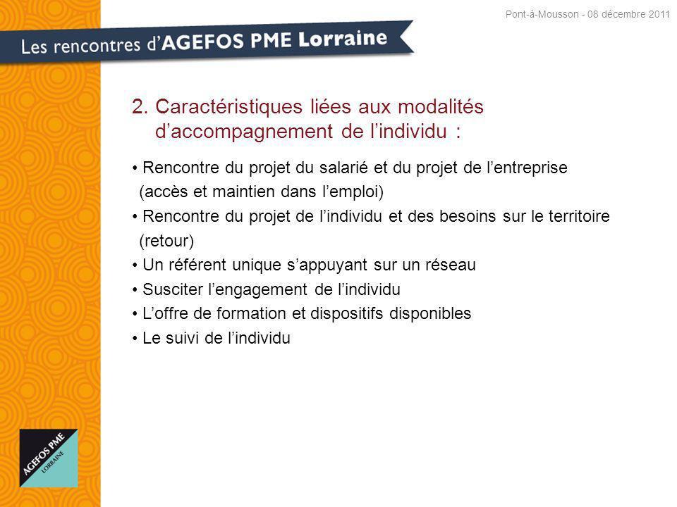 2. Caractéristiques liées aux modalités daccompagnement de lindividu : Rencontre du projet du salarié et du projet de lentreprise (accès et maintien d