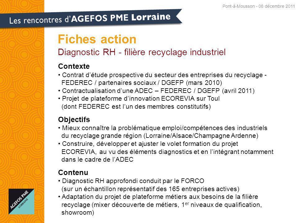 Fiches action Diagnostic RH - filière recyclage industriel Contexte Contrat détude prospective du secteur des entreprises du recyclage - FEDEREC / partenaires sociaux / DGEFP (mars 2010) Contractualisation dune ADEC – FEDEREC / DGEFP (avril 2011) Projet de plateforme dinnovation ECOREVIA sur Toul (dont FEDEREC est lun des membres constitutifs) Objectifs Mieux connaître la problématique emploi/compétences des industriels du recyclage grande région (Lorraine/Alsace/Champagne Ardenne) Construire, développer et ajuster le volet formation du projet ECOREVIA, au vu des éléments diagnostics et en lintégrant notamment dans le cadre de lADEC Contenu Diagnostic RH approfondi conduit par le FORCO (sur un échantillon représentatif des 165 entreprises actives) Adaptation du projet de plateforme métiers aux besoins de la filière recyclage (mixer découverte de métiers, 1 er niveaux de qualification, showroom) Pont-à-Mousson - 08 décembre 2011