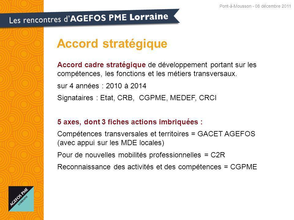Accord cadre stratégique de développement portant sur les compétences, les fonctions et les métiers transversaux.