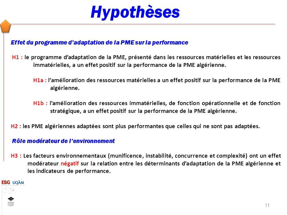 Hypothèses Effet du programme dadaptation de la PME sur la performance H1 : le programme dadaptation de la PME, présenté dans les ressources matérielles et les ressources immatérielles, a un effet positif sur la performance de la PME algérienne.