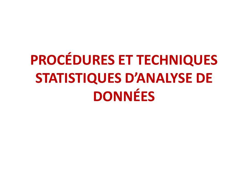 PROCÉDURES ET TECHNIQUES STATISTIQUES DANALYSE DE DONNÉES