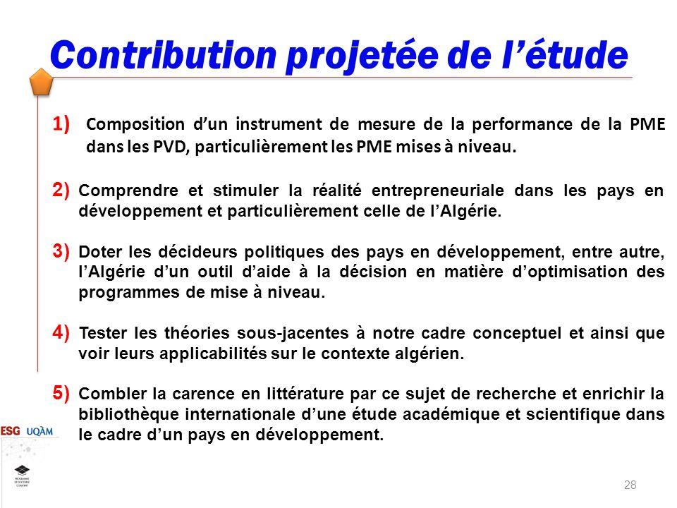 28 Contribution projetée de létude 1) Composition dun instrument de mesure de la performance de la PME dans les PVD, particulièrement les PME mises à niveau.