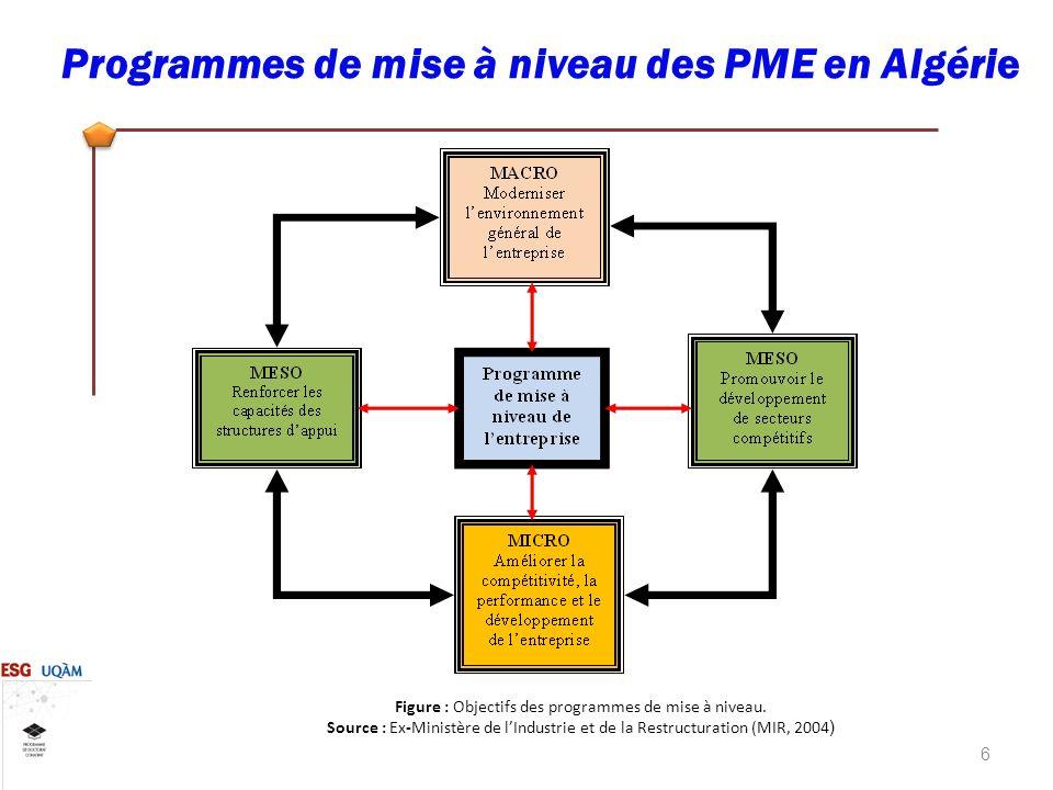 6 Programmes de mise à niveau des PME en Algérie Figure : Objectifs des programmes de mise à niveau.