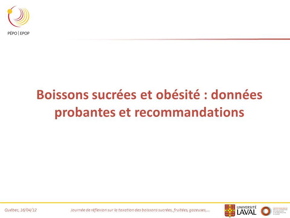 Québec, 16/04/12 Journée de réflexion sur la taxation des boissons sucrées, fruitées, gazeuses,… Boissons sucrées et obésité : données probantes et recommandations