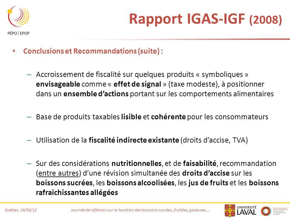 Québec, 16/04/12 Journée de réflexion sur la taxation des boissons sucrées, fruitées, gazeuses,… Rapport IGAS-IGF (2008) Conclusions et Recommandations (suite) : – Accroissement de fiscalité sur quelques produits « symboliques » envisageable comme « effet de signal » (taxe modeste), à positionner dans un ensemble dactions portant sur les comportements alimentaires – Base de produits taxables lisible et cohérente pour les consommateurs – Utilisation de la fiscalité indirecte existante (droits daccise, TVA) – Sur des considérations nutritionnelles, et de faisabilité, recommandation (entre autres) dune révision simultanée des droits daccise sur les boissons sucrées, les boissons alcoolisées, les jus de fruits et les boissons rafraichissantes allégées