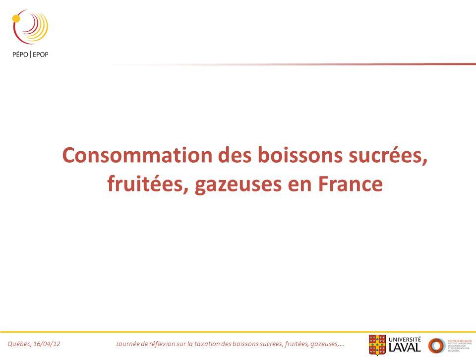 Québec, 16/04/12 Journée de réflexion sur la taxation des boissons sucrées, fruitées, gazeuses,… Consommation des boissons sucrées, fruitées, gazeuses en France