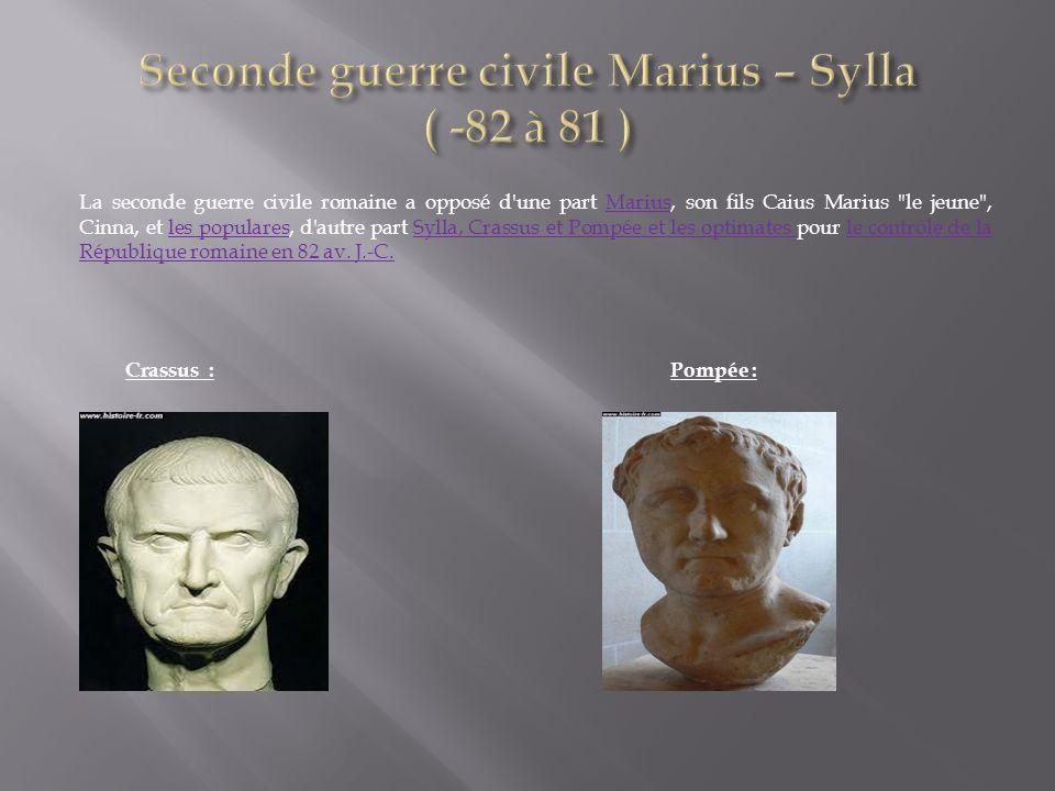 La seconde guerre civile romaine a opposé d'une part Marius, son fils Caius Marius