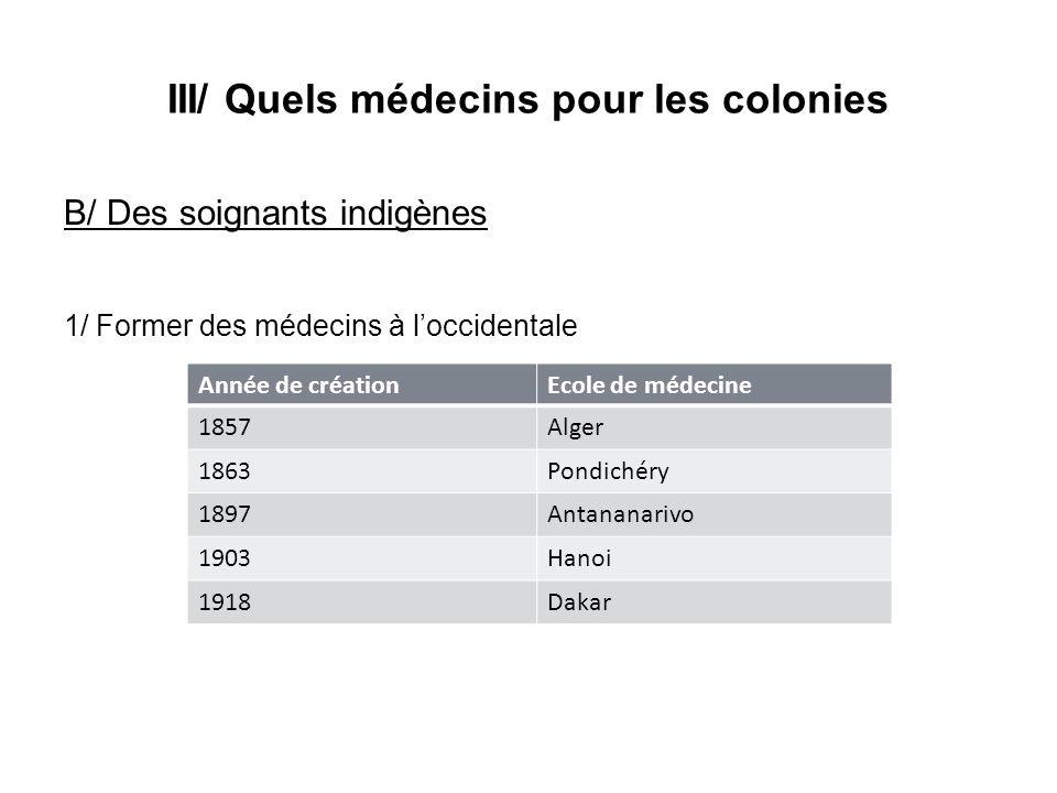 III/ Quels médecins pour les colonies B/ Des soignants indigènes 1/ Former des médecins à loccidentale Année de créationEcole de médecine 1857Alger 18