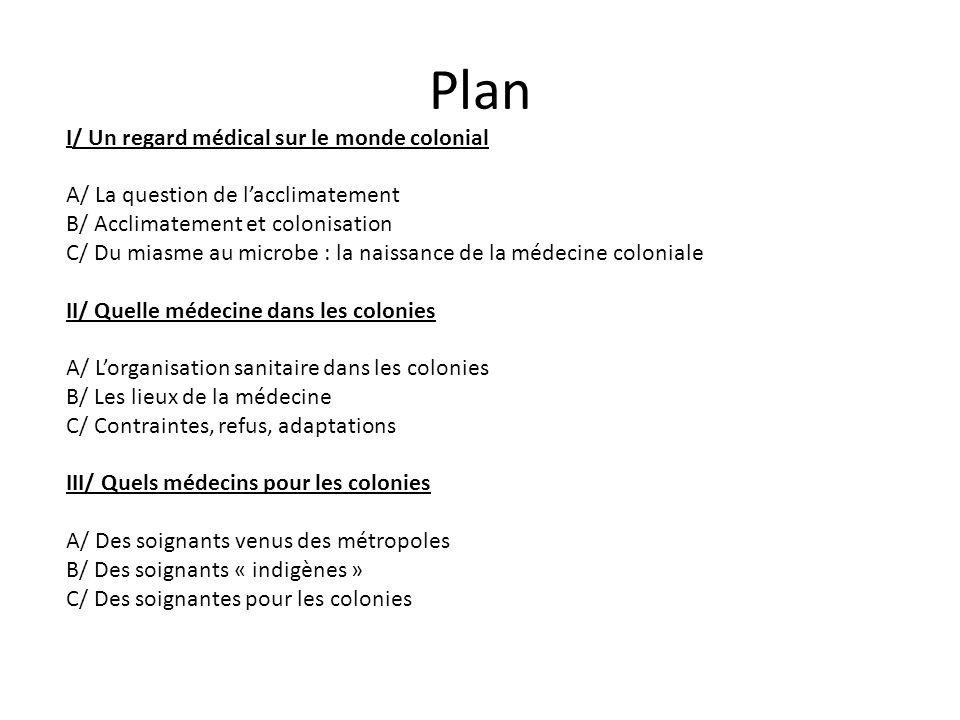Plan I/ Un regard médical sur le monde colonial A/ La question de lacclimatement B/ Acclimatement et colonisation C/ Du miasme au microbe : la naissan