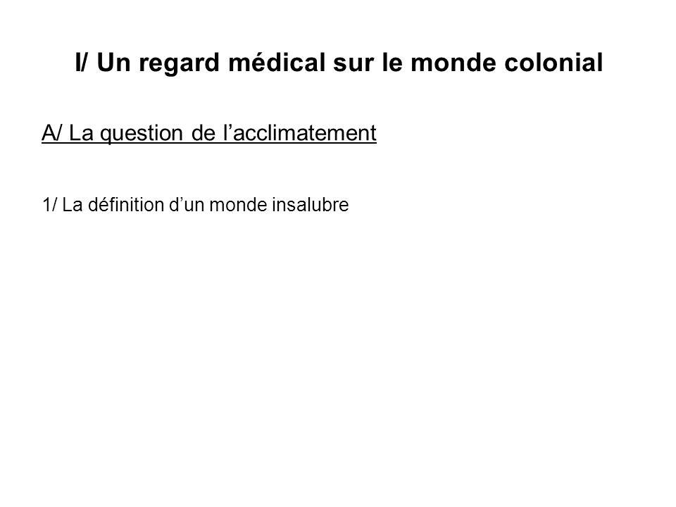 I/ Un regard médical sur le monde colonial A/ La question de lacclimatement 1/ La définition dun monde insalubre