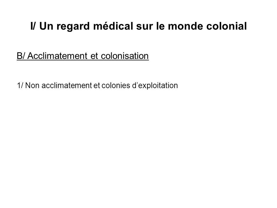 I/ Un regard médical sur le monde colonial B/ Acclimatement et colonisation 1/ Non acclimatement et colonies dexploitation