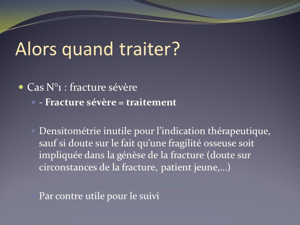 Alors quand traiter? Cas N°1 : fracture sévère - Fracture sévère = traitement Densitométrie inutile pour lindication thérapeutique, sauf si doute sur