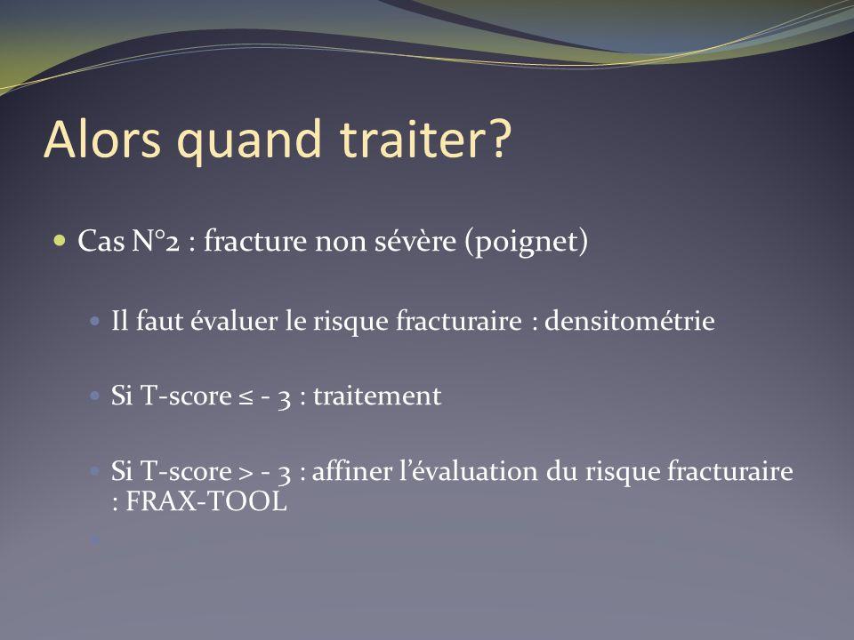 Alors quand traiter? Cas N°2 : fracture non sévère (poignet) Il faut évaluer le risque fracturaire : densitométrie Si T-score - 3 : traitement Si T-sc