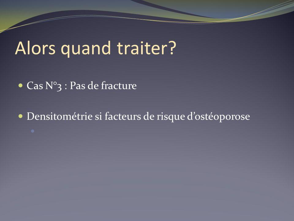 Alors quand traiter? Cas N°3 : Pas de fracture Densitométrie si facteurs de risque dostéoporose