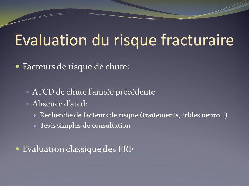 Evaluation du risque fracturaire Facteurs de risque de chute: ATCD de chute lannée précédente Absence datcd: Recherche de facteurs de risque (traiteme