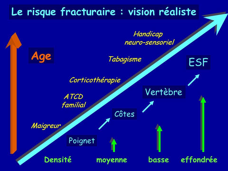 Densité moyenne basseeffondrée ESF Vertèbre Côtes Poignet Corticothérapie Maigreur Tabagisme Handicap neuro-sensoriel ATCD familial Age Le risque frac
