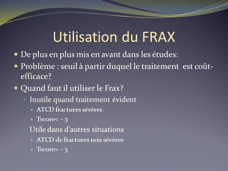 Utilisation du FRAX De plus en plus mis en avant dans les études: Problème : seuil à partir duquel le traitement est coût- efficace? Quand faut il uti