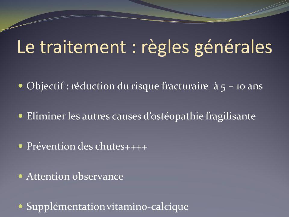 Le traitement : règles générales Objectif : réduction du risque fracturaire à 5 – 10 ans Eliminer les autres causes dostéopathie fragilisante Préventi