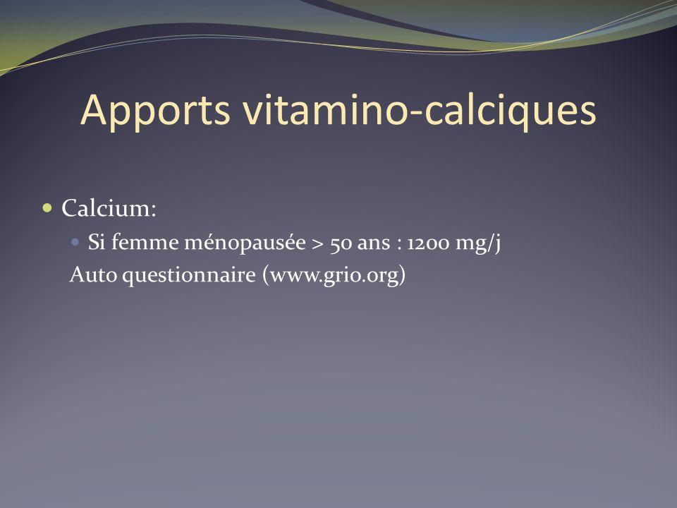 Apports vitamino-calciques Calcium: Si femme ménopausée > 50 ans : 1200 mg/j Auto questionnaire (www.grio.org)