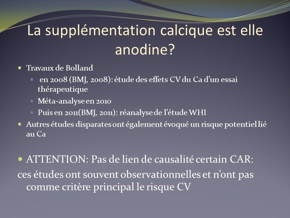 La supplémentation calcique est elle anodine? Travaux de Bolland en 2008 (BMJ, 2008): étude des effets CV du Ca dun essai thérapeutique Méta-analyse e