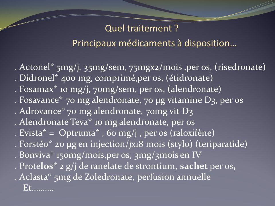 Quel traitement ? Principaux médicaments à disposition…. Actonel* 5mg/j, 35mg/sem, 75mgx2/mois,per os, (risedronate). Didronel* 400 mg, comprimé,per o