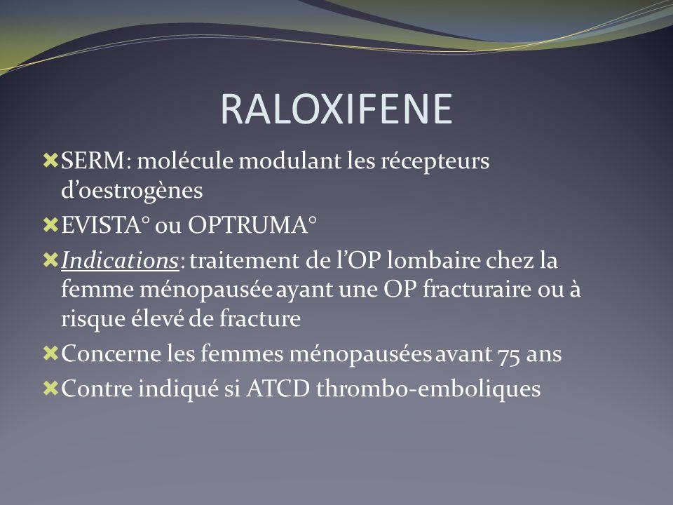 RALOXIFENE SERM: molécule modulant les récepteurs doestrogènes EVISTA° ou OPTRUMA° Indications: traitement de lOP lombaire chez la femme ménopausée ay