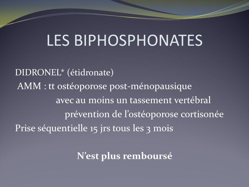 LES BIPHOSPHONATES DIDRONEL* (étidronate) AMM : tt ostéoporose post-ménopausique avec au moins un tassement vertébral prévention de lostéoporose corti