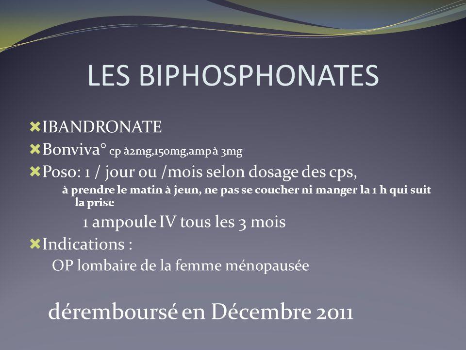 LES BIPHOSPHONATES IBANDRONATE Bonviva° cp à2mg,150mg,amp à 3mg Poso: 1 / jour ou /mois selon dosage des cps, à prendre le matin à jeun, ne pas se cou