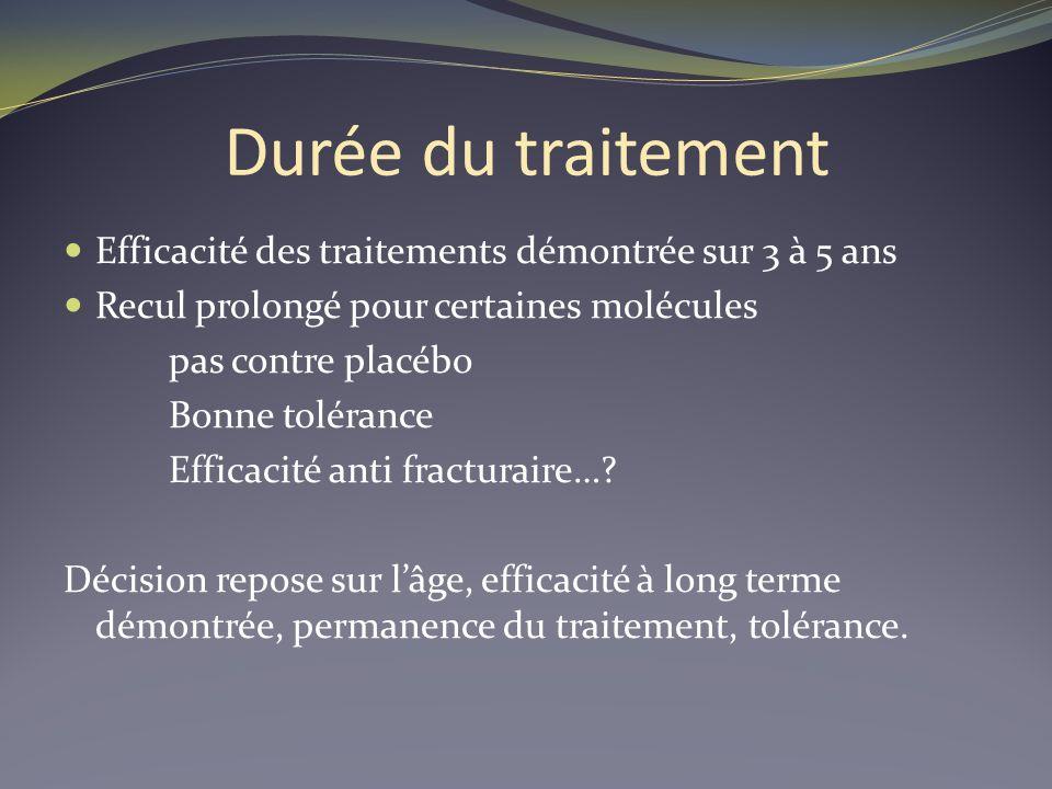 Durée du traitement Efficacité des traitements démontrée sur 3 à 5 ans Recul prolongé pour certaines molécules pas contre placébo Bonne tolérance Effi
