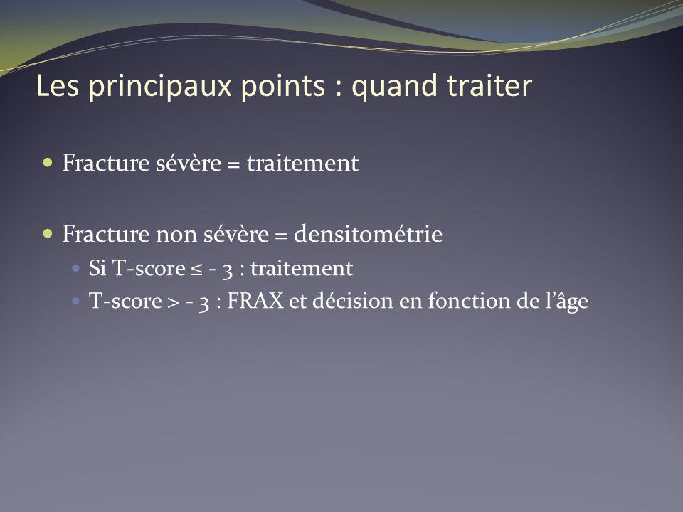 Les principaux points : quand traiter Fracture sévère = traitement Fracture non sévère = densitométrie Si T-score - 3 : traitement T-score > - 3 : FRA