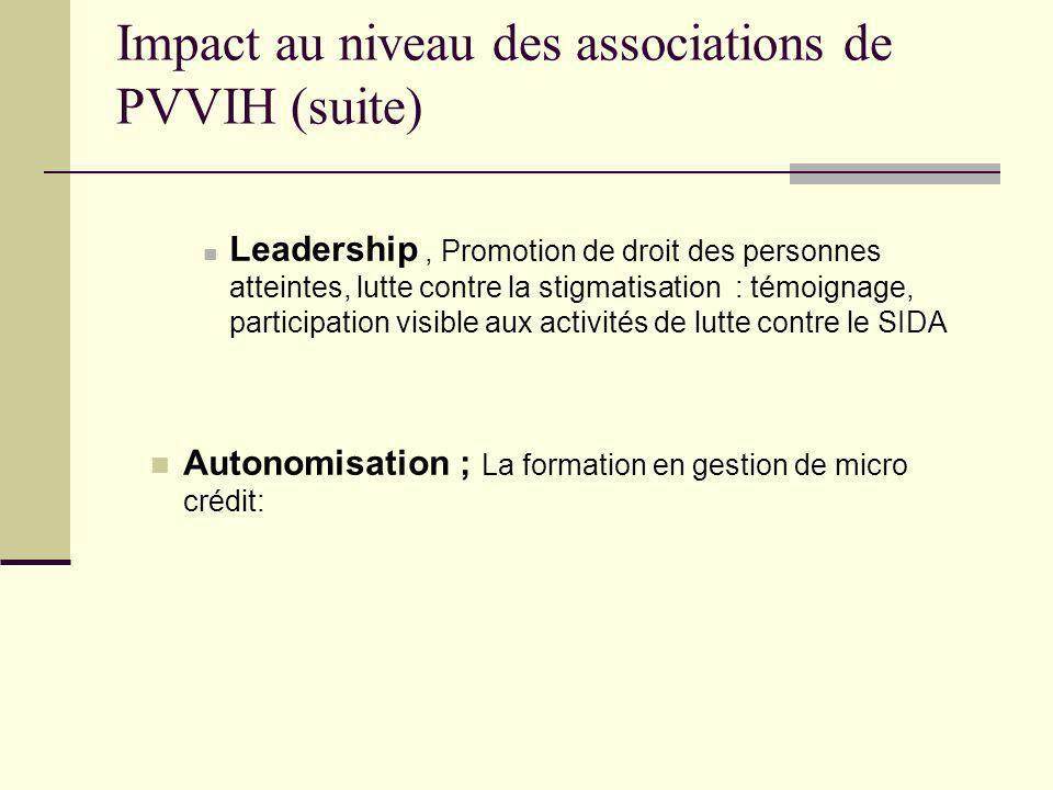 Impact au niveau des associations de PVVIH (suite) Leadership, Promotion de droit des personnes atteintes, lutte contre la stigmatisation : témoignage, participation visible aux activités de lutte contre le SIDA Autonomisation ; La formation en gestion de micro crédit: