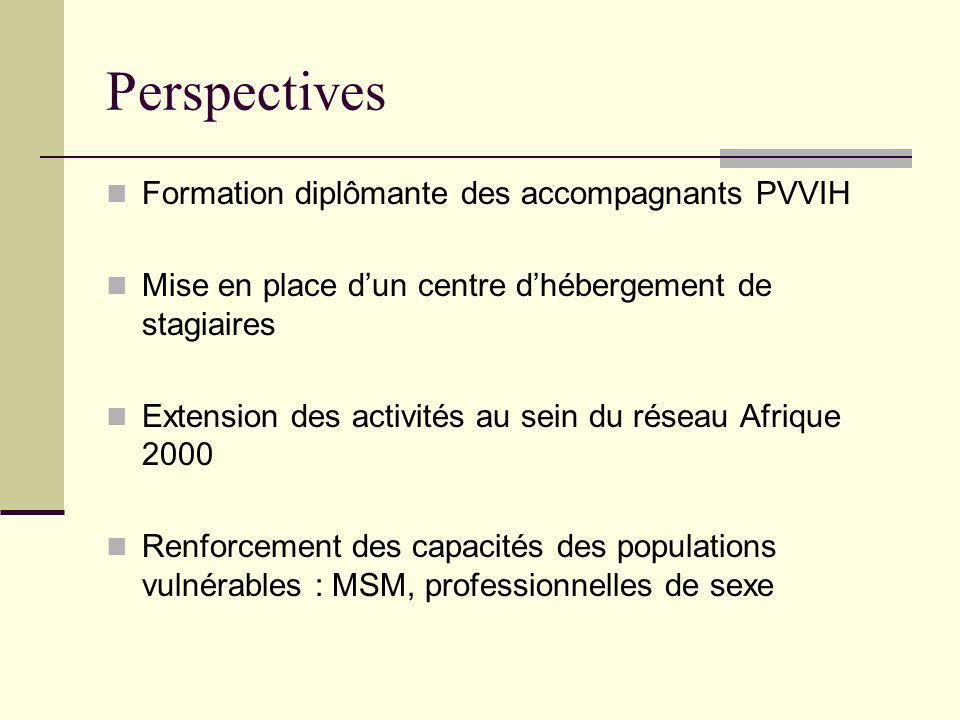 Perspectives Formation diplômante des accompagnants PVVIH Mise en place dun centre dhébergement de stagiaires Extension des activités au sein du réseau Afrique 2000 Renforcement des capacités des populations vulnérables : MSM, professionnelles de sexe