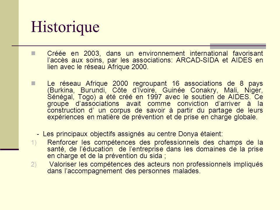 Historique Créée en 2003, dans un environnement international favorisant laccès aux soins, par les associations: ARCAD-SIDA et AIDES en lien avec le réseau Afrique 2000.