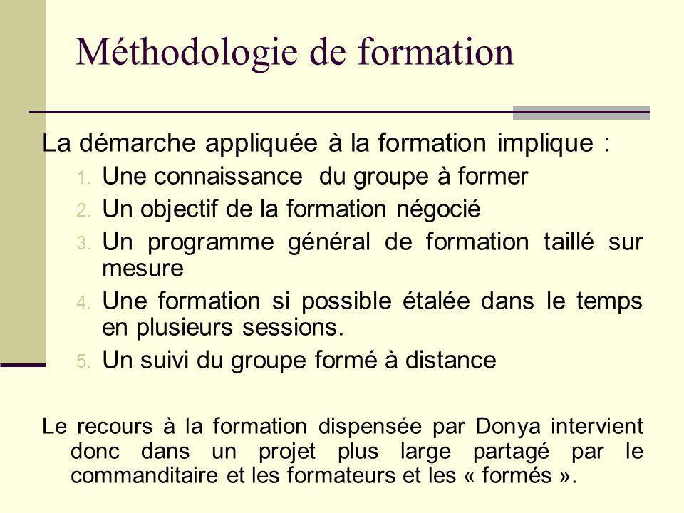Méthodologie de formation La démarche appliquée à la formation implique : 1. Une connaissance du groupe à former 2. Un objectif de la formation négoci